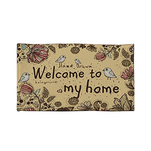 Zakka Chezmax Flock-Zerbino antiscivolo, per interni ed esterni, motivo piccolo fuori porta interna anteriore-Tappeto di moquette, Welcome To My Home, 18 inch X 53 inch