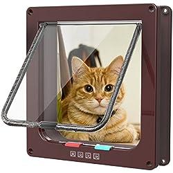 Fypo Puerta de Gato Puerta de Aleta Gatera Cuadrada Acceso Seguridad para Gatos Ventana de Observación de Mascota de 4 modos 23,5 * 25cm L (Marrón)