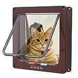 Katzentür Katzenklappe, Fypo Haustierklappe Braun für Große Katzen 4 Wege Magnet Verschluss Installieren Leicht mit Teleskoprahmen 25x23cm