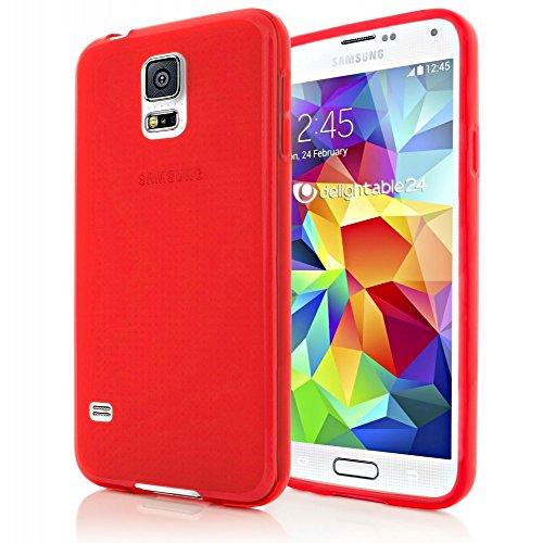 delightable24 Cover Case in Silicone TPU per Smartphone SAMSUNG GALAXY S5 / S5 NEO - Matte Rosso