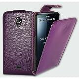 Funda de piel en color Morado para Sony Xperia T LT30P + 2X PROTECTORES DE PANTALLA