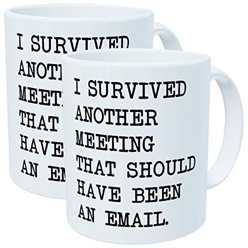 Lot de 2 - I Survécu un autre Réunion qui doit avoir été un e-mail - Tasses à café en céramique de 311,8 gram - Best drôle et inspirants Cadeau