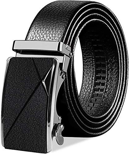BTNEEU Cinturón para Hombre de Cuero Cinturón Piel Hebilla Automática Hombre, 130cm Cinturon Trinquete Caballero Cuero, 35 mm Cinturón de Vestir Hombre para Jeans, Ropa Casual, Ropa Formal (Negro)