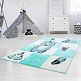 carpet city Kinderteppich Hochwertig Konturenschnitt Glanzgarn Indianer-Bär Tipi Pastell-Türkis Größe 140/200 cm