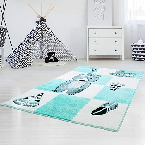 Alfombra Carpet City infantil, de gran calidad, costura de contorno, hilo brillante, con oso indio y tipi, en color turquesa pastel, 80/150 cm