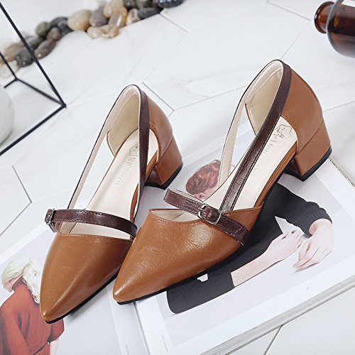 XY&GKFrau Sommer Baotou's Sandalen Frauen Ferse Ferse spitze Schuhe 35 Brown