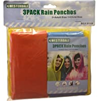 2 ADULT & 1 CHILD EMERGENCY WATERPROOF HOODED RAIN PONCHO PONCHOS COVER 3 PACK