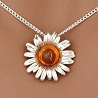 Sterling Silver & Natural Baltic Honey Amber SUNFLOWER Pendant & Necklace