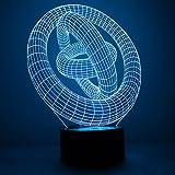 3D Leuchte 3D Lampe Deko Lampe Hologramm mit Farbwechsel, Ringe LED 3D Illusion Schlummerlicht Farbspiel Lichtspiel Ringe USB Anschluß Nachtlicht für Schreibtisch Nachttisch Lampe Dekolicht