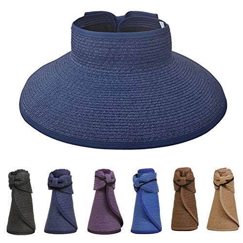 YIFEIKU Co.,Ltd. Women Girls Sun Visor Hat Wide Brim Foldable Roll-up Straw Summer Beach Cap for Seaside Holiday Camping Travel