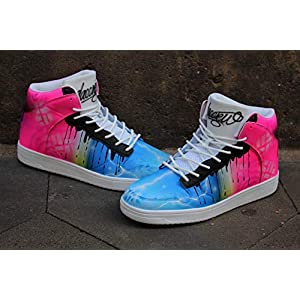 "Dac Crew High Tops""Blue vs. Pink"" Custom unique Sneaker Art"