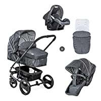 Hauck Pacific 4 Shop N Drive, Lightweight Pushchair Set with Group 0 Car Seat, Carrycot Convertible to Reversible Seat, Footmuff, Large Wheels, From Birth to 25 kg, Melange Charcoal