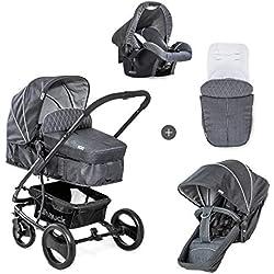 Hauck Pacific 4 Shop N Drive - carro de bebe de 7-piezas, hasta 25kg, grupo 0+, capazo transformable, silla reversible, colchón, cubrecapazo, cubrepies, saquito, ligero, Melange Charcoal (gris)