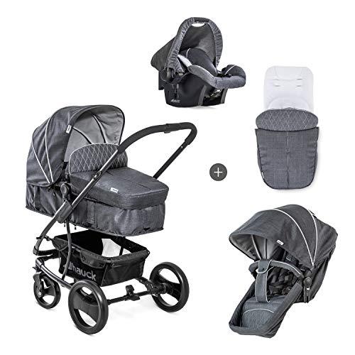 Hauck Pacific 4 Shop N Drive Kombikinderwagen 7 teilig bis 25 kg + Babyschale + Babywanne umbaubar zur wendbaren Sitzeinheit mit Beindecke, leicht, extra große Räder, melange charcoal (grau)