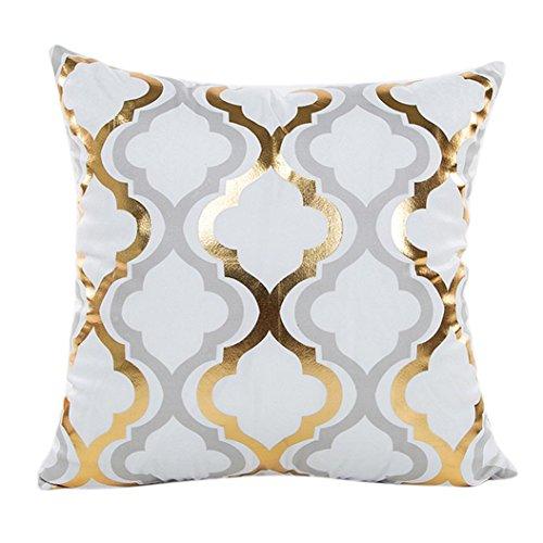Taies d'oreiller, Quistal Housses de Coussin Coloré Géométrique Impression de feuille d'or Pour Canapé Maison Voiture 45cmX45cm/18X18\