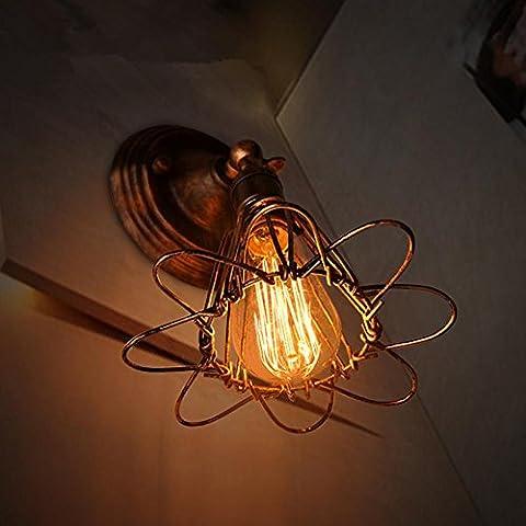 FWEF Lron pared lámpara moderna pasillo escalera dormitorio cabecera lámpara Retro Bar Cafe personalidad lámpara de pared 27 *