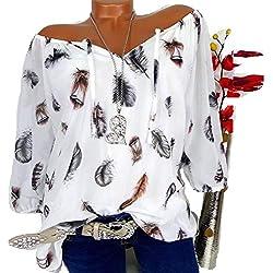 Blusa Mujers Yesmile Las Mujeres Camisa Las Mujeres Ocasionales más tamaño de la impresión de Plumas con Cuello en V Blusa Pullover Tops Camisa