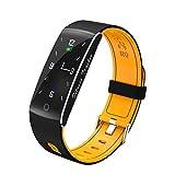 HIXGB Fitness Armband 24 Stunden Herzfrequenzmesser Wasserdicht Bluetooth Whatsapp Sport Armband Schlafmonitor Schrittzähler Farbbildschirm Smartwatch,Orange
