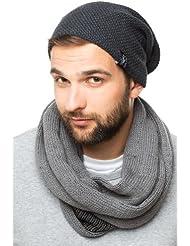 Longue Bonnet gris oversize noir - bonnet tendance tricoté, chapeau tricoté unisexe hommes femmes, 2014, Ski Snowboard Hat Cap Croco