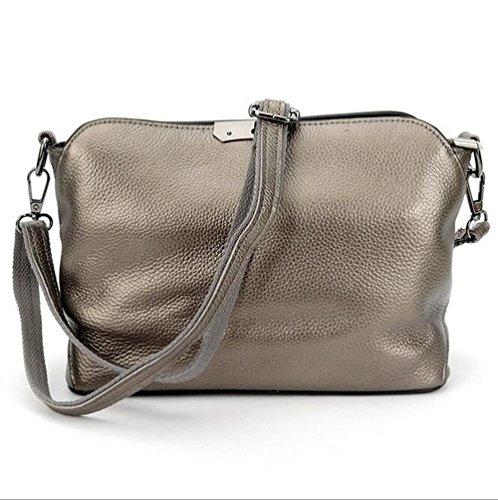 MeiliYH Sacchetto Semplice Diagonale Cerniera Pacchetto Di moda Tracolla in Pelle Ladies grigio_argento