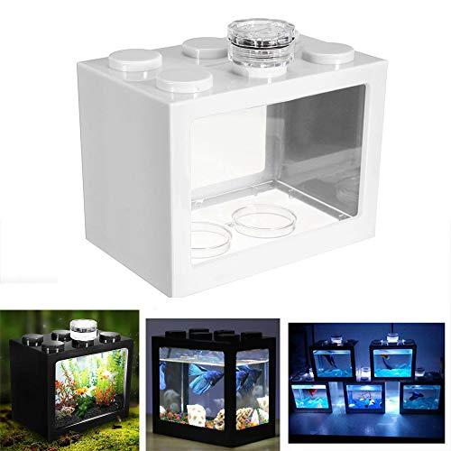 Womdee Mini-Aquarium, LED-Beleuchtung, transparentes Bettas, für Aquarien, Reptilien, USB Büro-Tischdekoration, Ozean, Mikro-Landscape-Box, Miniatur-Haustier mit wechselnden Lichteffekten weiß -