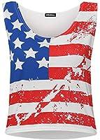 WearAll - Damen Sterne Streifen USA Amerikanish Flagge Druck Ärmellos Bauchfrei Crop Top - 2 Farben - Größe 36-42