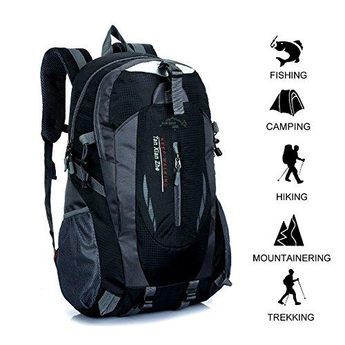 Wandern Rucksack 40L Wasserdicht Trekking Interne Rahmen Rucksack Daypacks Outdoor Sportrucksack für Klettern Einkaufen Angeln Reise Radfahren Camping(Schwarz,40L)