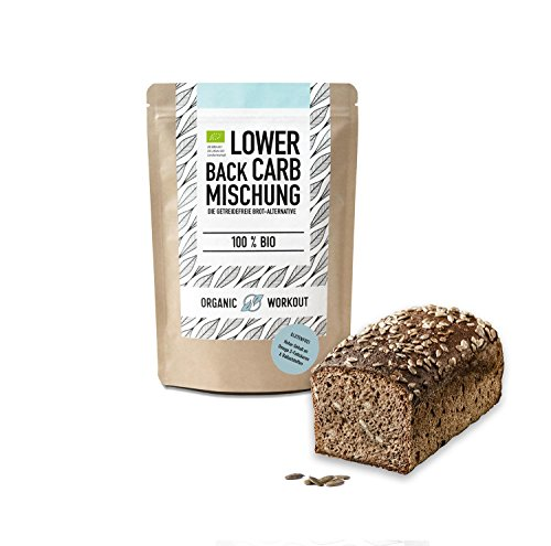Organic Workout LOWER-CARB-BROT-BACKMISCHUNG - 100% Bio | paleo | glutenfrei | eiweissbrot | ballaststoffreich | ohne Zuckerzusatz | ohne Getreide | hergestellt in Deutschland