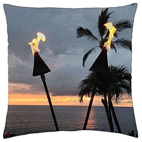 Hawaiian Tiki torches Soirée Crépuscule temps à Waimea Maui Hawaii–Couvre-lit Taie d'oreiller Coque (16