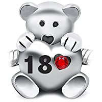 18th Birthday Teddy Bear Charm Bead holding a red heart inscribed 18 - 925 Sterling Silver - fits Pandora, Biagi & Troll bracelets
