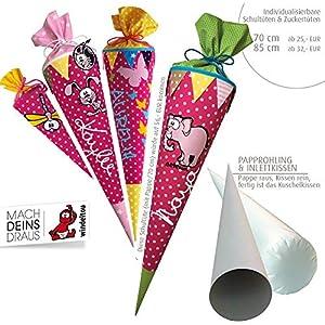 Schultüte, Zuckertüte in 70 cm oder 85 cm, pink mit Punkten in rosa inklusive Papprohling mit vielen Personalisierungsmöglicheiten, als Kuschelkissen weiter nutzbar