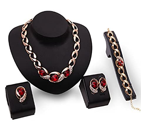 SaySure - Gold plated Ruby Sapphire Necklace Earrings Bracelet Ring