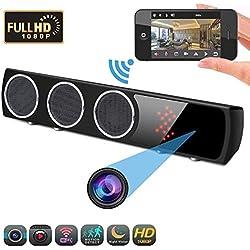 YEXIN 1080p HD cámara Oculta y Altavoz Bluetooth Subwoofer WiFi Subwoofer 160 ° Infrarrojo Visión Nocturna Altavoz Bluetooth Cámara IP Interior Seguridad para el hogar