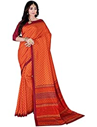 DESIGN WILLA Trendy New Collection Women's Art Silk Saree With Blouse Piece(orange, Red Border)