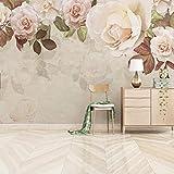 Wxlsl 3D Benutzerdefinierte Fototapeten Vintage Ölgemälde Tapeten 3D Blätter Blumen Floral Wandbilder Für Wohnzimmer Wohnkultur Blumen-200cmx140cm