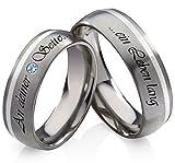 frencheis Titanringe Verlobungsringe Eheringe Trauringe Hochzeitsringe aus Titan und 925 Silber mit Blautopas und persönlicher Lasergravur HT13L