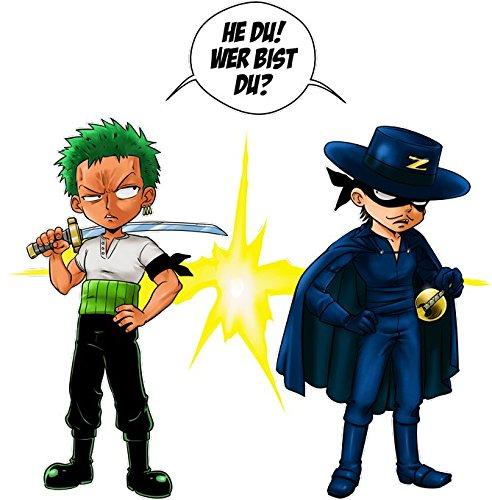 Parodie auf Lorenor Zorro von One Piece - Manga Herren T-shirt (701) Schwarz