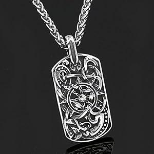 vichingo medievale rettangolo nodo nodo lavoro collana ciondolo collana argento antico catena di metallo scandinavo nodo Mjolnir donna uomo celtico Norreno nordico Rune Talisman Saxon–C273