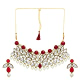 Shining Diva Jewelry Choker Kundan Pearl Stylish Fancy Party Wear Necklace for Women Traditional Jewellery Set with Earrings for Women & Girls