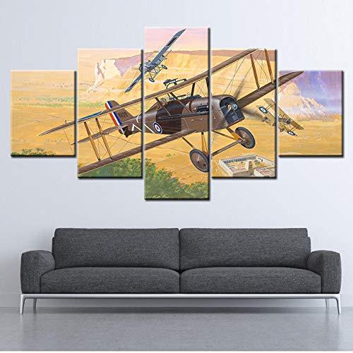 Wieoc Leinwand Malerei Flugzeuge 5 Stücke Wandkunst Malerei Modulare Tapeten Poster Drucken Wohnkultur-40X60Cmx2 40X80Cmx2 40X100Cmx1 -