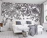 BHXINGMU Benutzerdefinierte Wandbilder 3D-Tapeten Schwarze Und Weiße Linien Blumen Wohnzimmer Tv Sofa Hintergrund Wandbilder Moderne Tapete 280Cm(H)×400Cm(W)