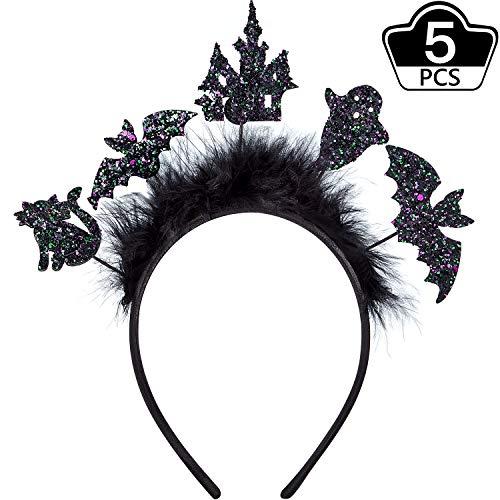 WILLBOND 5 Stücke Halloween Haarband Fledermaus Katze Stirnbänder Halloween Party Kostüme für Frauen Mädchen Cosplay Prop (Adult Kostüm 5 Stück)