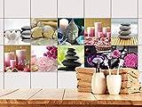 GRAZDesign 770520_15x15_FS20st Fliesen-Aufkleber Set beruhigende Bilder Kerzen Steine Buddha Bad/Küchen-Fliesen überkleben (15x15cm//Set 20 Stück)