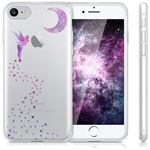 kwmobile Étui en TPU silicone élégant pour Apple iPhone 7 / 8 en or rose métallique fée IMD rose foncé violet transparent
