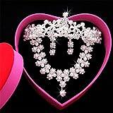 Gioielli da sposa gioielli europei e americani orecchini della collana della corona della sposa Three-Piece Headdress Set di gioielli di cristallo del diamante