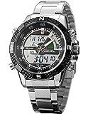 SHARK SH047-Orologio da polso uomo,Acciaio INOX,LCD Datario Digitale Analogico Quarzo,colore:Argento