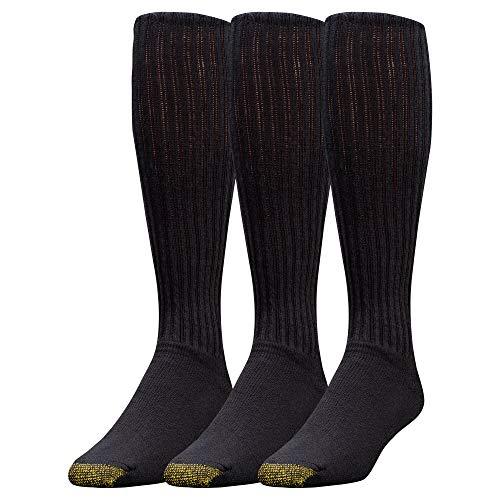 Gold Toe Herren Sportsocken aus Baumwolle, Over-the-Waden-Stil, 3er-Pack - Schwarz - 10-13 (Shoe Size 6-12.5) - Toe Gold Herren-baumwoll-socken
