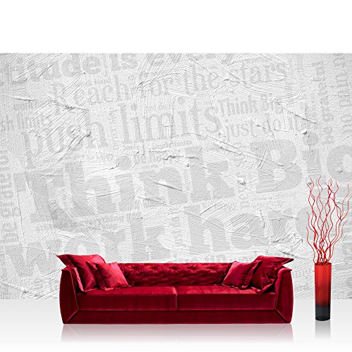 Vlies Fototapete 400x280 cm PREMIUM PLUS Wand Foto Tapete Wand Bild Vliestapete - WALL OF BIG WORDS - Ornamente Schrift Text Hintergrund Office Büro Think Big - no. 124