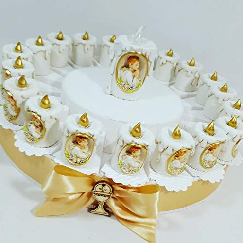 Bomboniere sacre prima comunione bimbo su torta bomboniera con confetti - torta da 20 fette+20 oggetti prima comunione+centrale+confetti