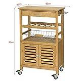 SoBuy® FKW53-N Servierwagen Küchenwagen mit Korb und Flaschenablage Küchenregal Rollwagen Bambus BHT ca: 56x92x36cm - 4